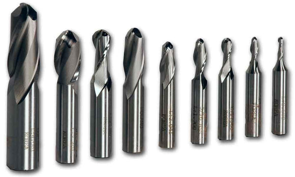 2-Flute HSS Ball Nose End Mill Kit