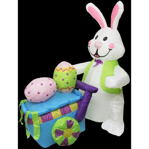 Northlight Seasonal 4u0027 Inflatable Lighted Easter Bunny With Push Cart Yard  Art Decoration 31493480