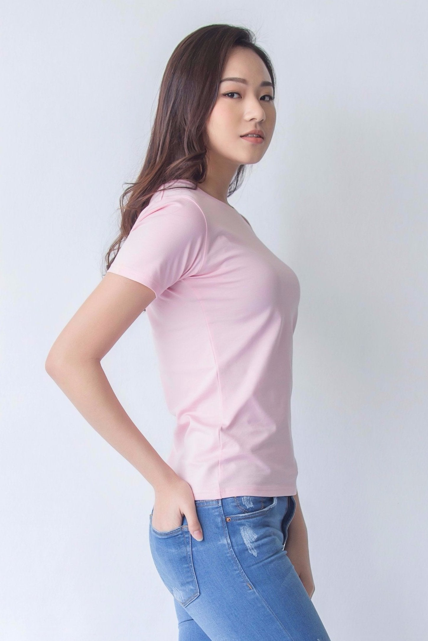 8591ecf9d150 Supima Cotton Pink Women T-Shirt Buttonwell ...