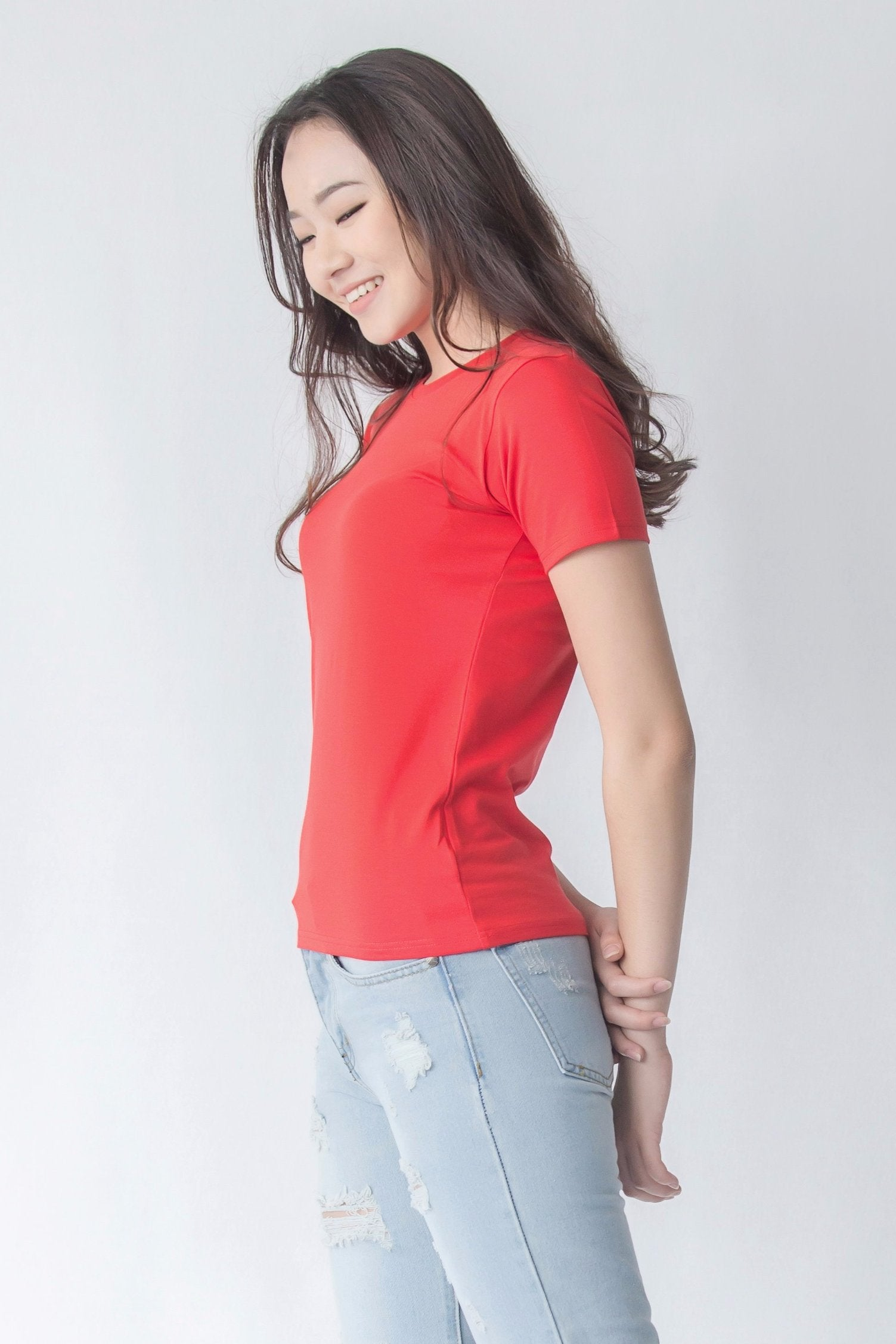 17a439056e Supima Cotton Crew Neck T-shirt | Rubine Red | For Women - Buttonwell