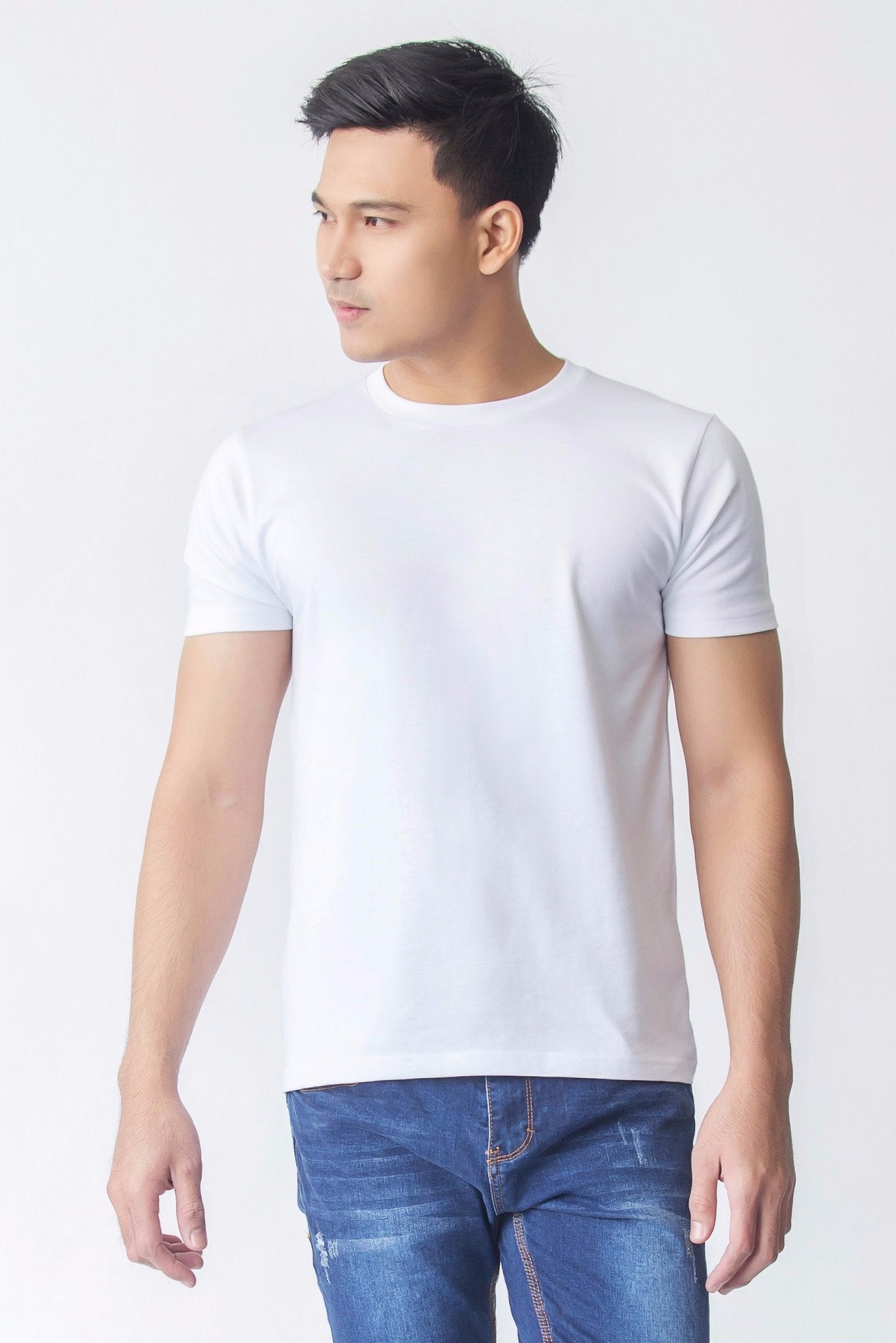 1991a2290a Supima Cotton Crew Neck T-shirt | Signature White | For Men - Buttonwell
