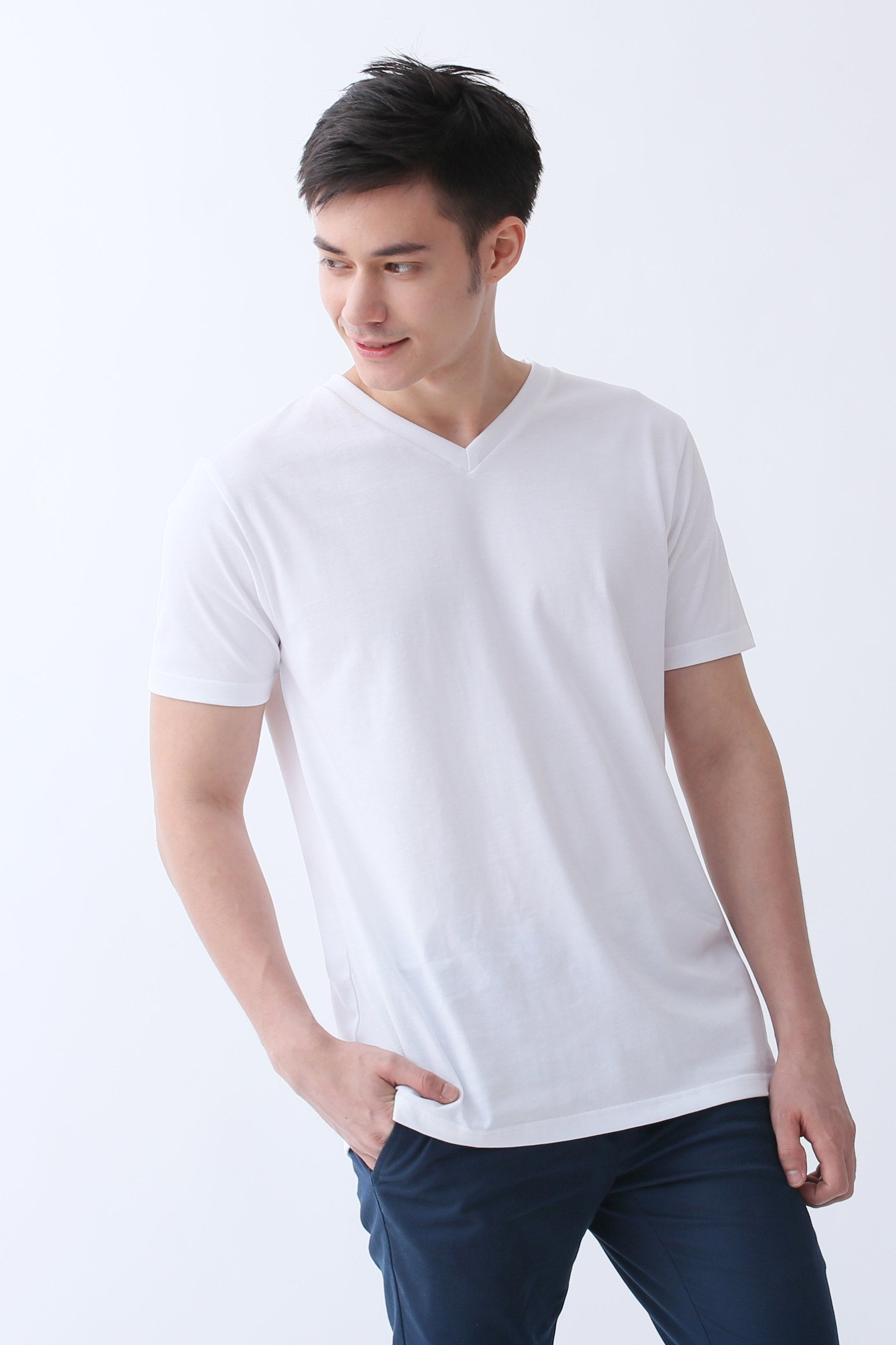 1c4c39a30a Supima Cotton V-Neck T-shirt | Signature White | For Men - Buttonwell