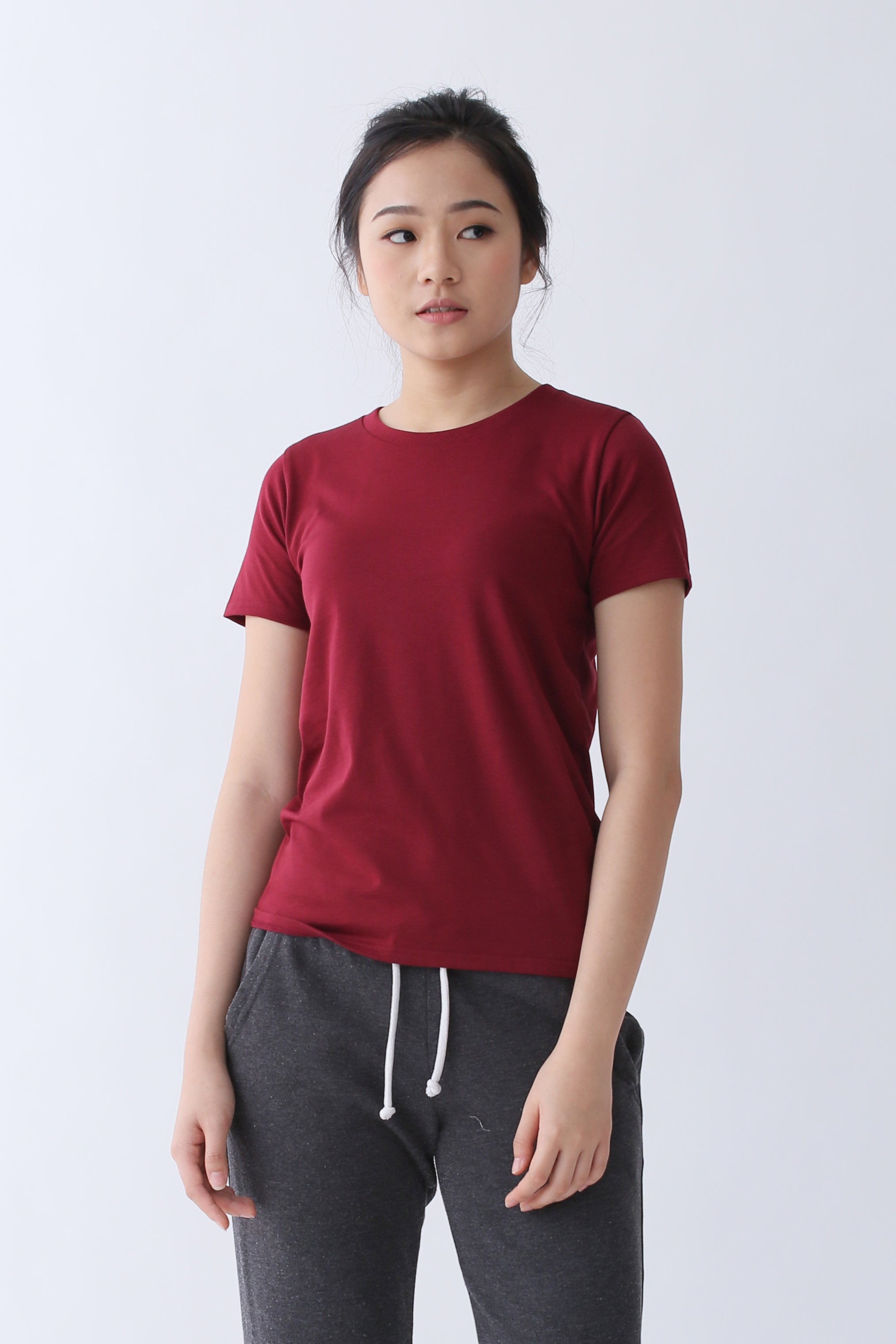 2785451047 Supima Cotton Relaxed Cut T-shirt | Maroon | For Women - Buttonwell
