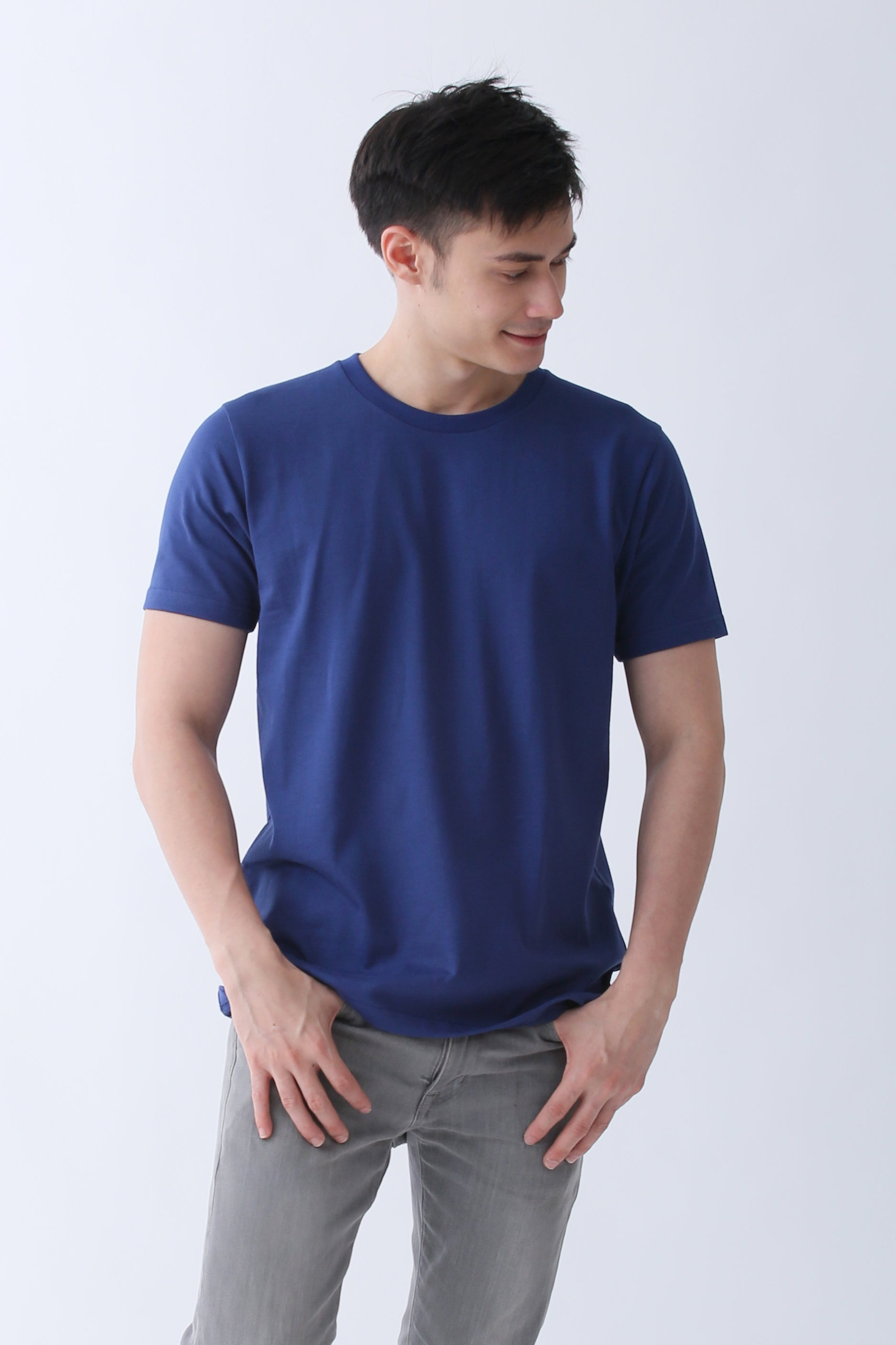 8a47e550ee Supima Cotton Crew Neck T-shirt | Navy Blue | For Men - Buttonwell