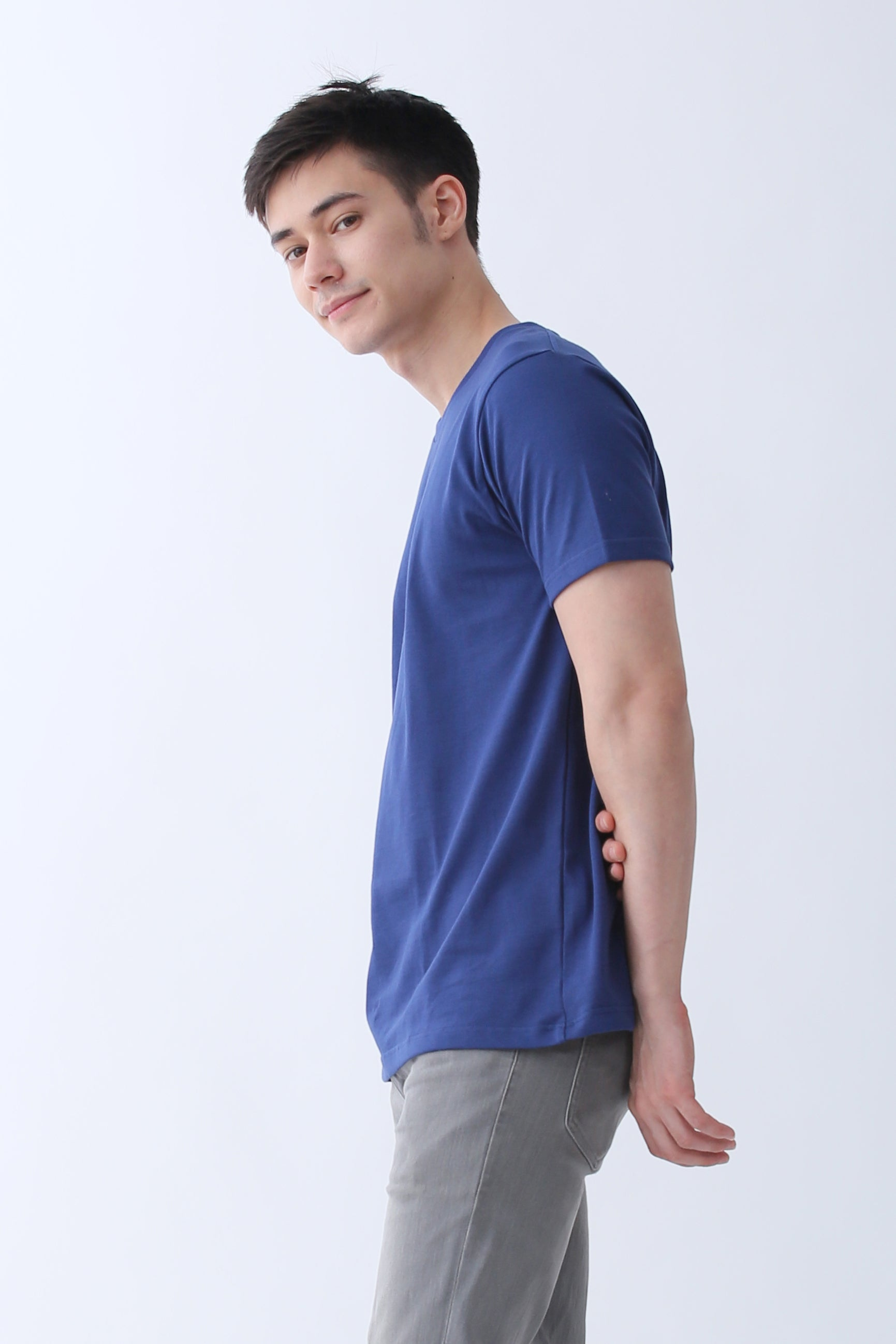 62f175602 Supima Cotton Crew Neck T-shirt | Navy Blue | For Men - Buttonwell