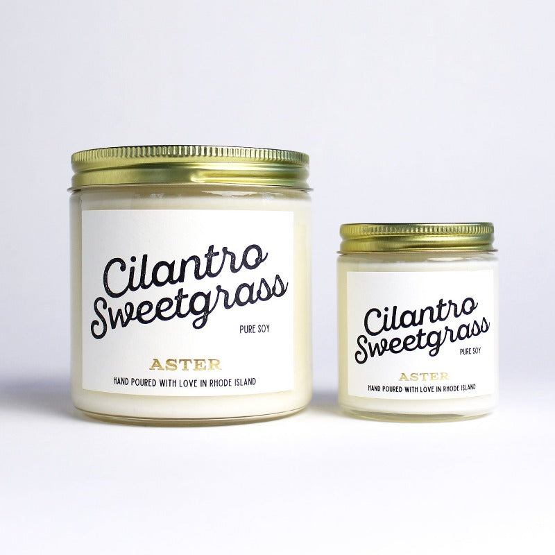 Large and mini Cilantro Sweetgrass scented soy candles.