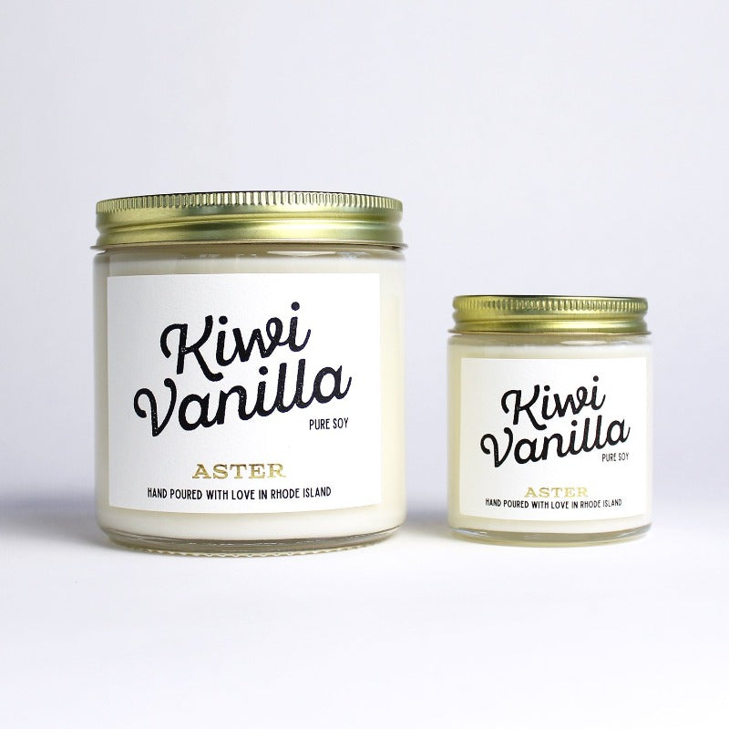Large and mini Kiwi Vanilla scented soy candles.