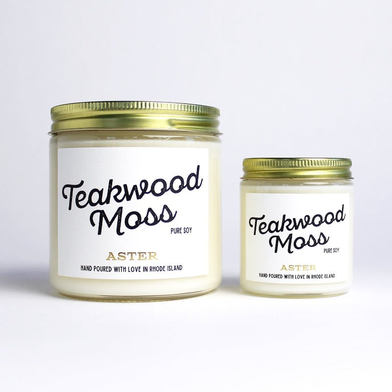 Large and mini Teakwood Moss scented soy candles.