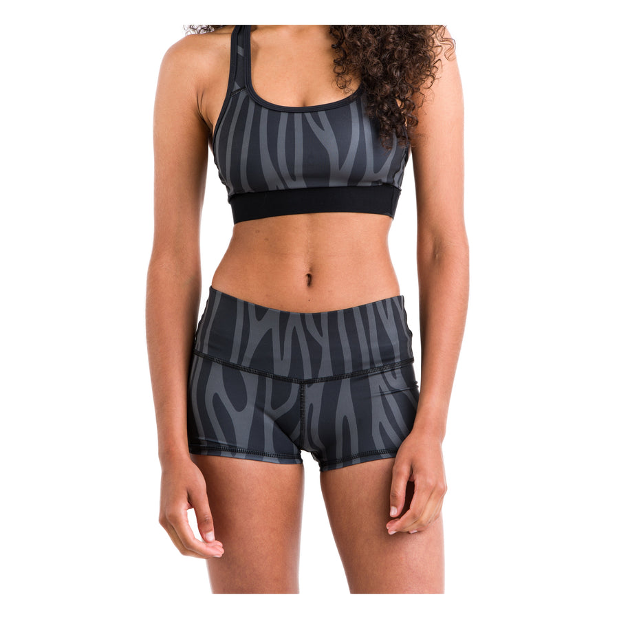 Eco Seamless Shorties (Black + Grey Pattern)