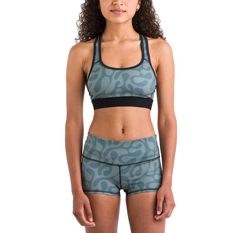 Eco Seamless Shorties (Green + Black Pattern)