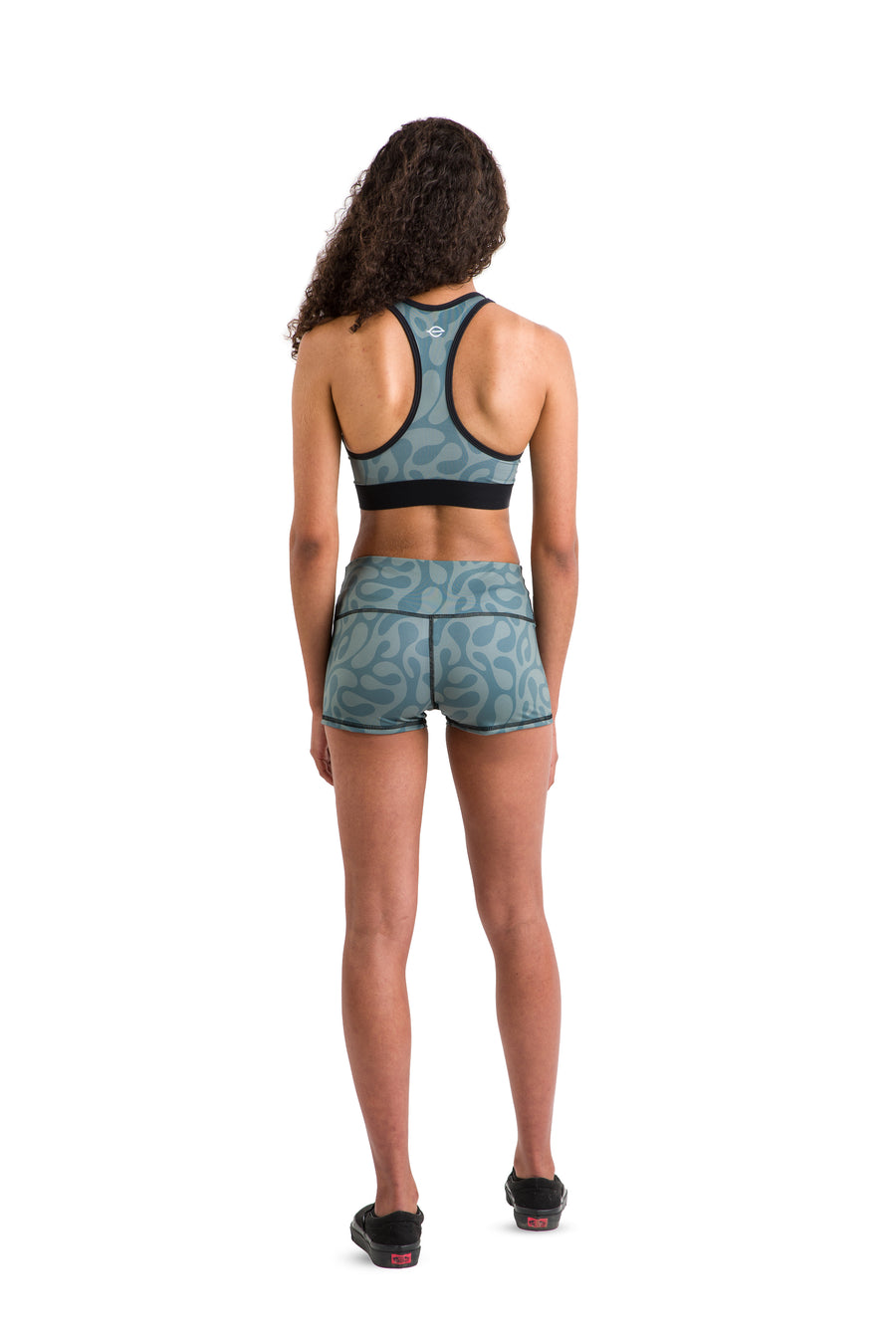 Eco Racerback Sports Bra (Green + Black Pattern)