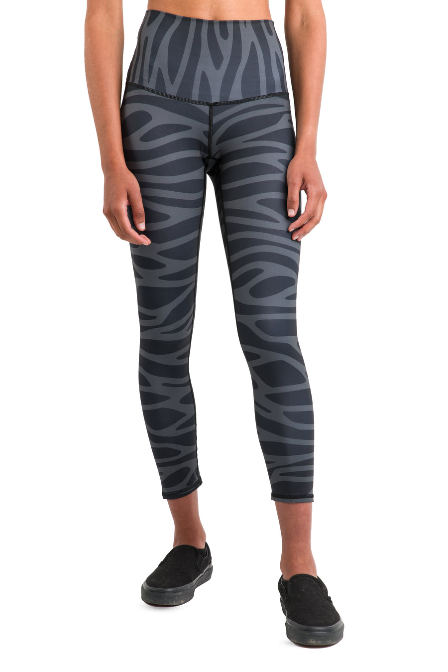 Eco, 7/8 Length, High -Waisted Leggings (Black + Grey Pattern)