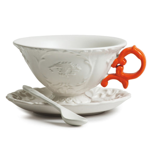 Seletti I-Ware Porcelain Tea Set with Yellow Handle