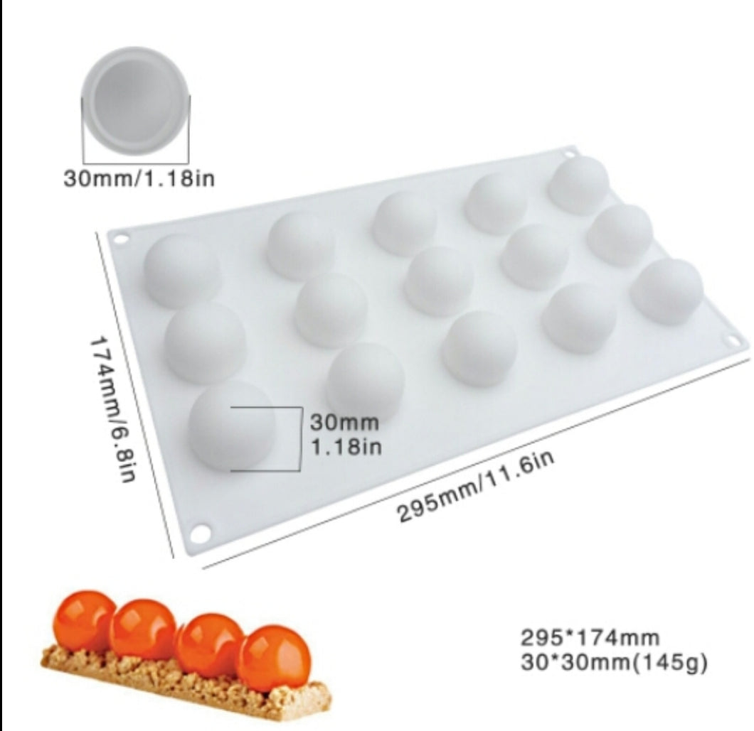 Silicone Truffle/ Sphere Mould, 15 Cavity