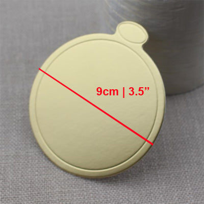 9 cm Round Gold Cardboard Presentation Boards - pack of 10