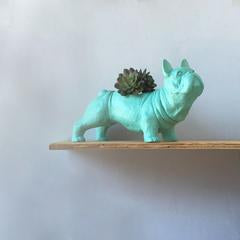 Frenchie Pug Animal Planter - Mint Green