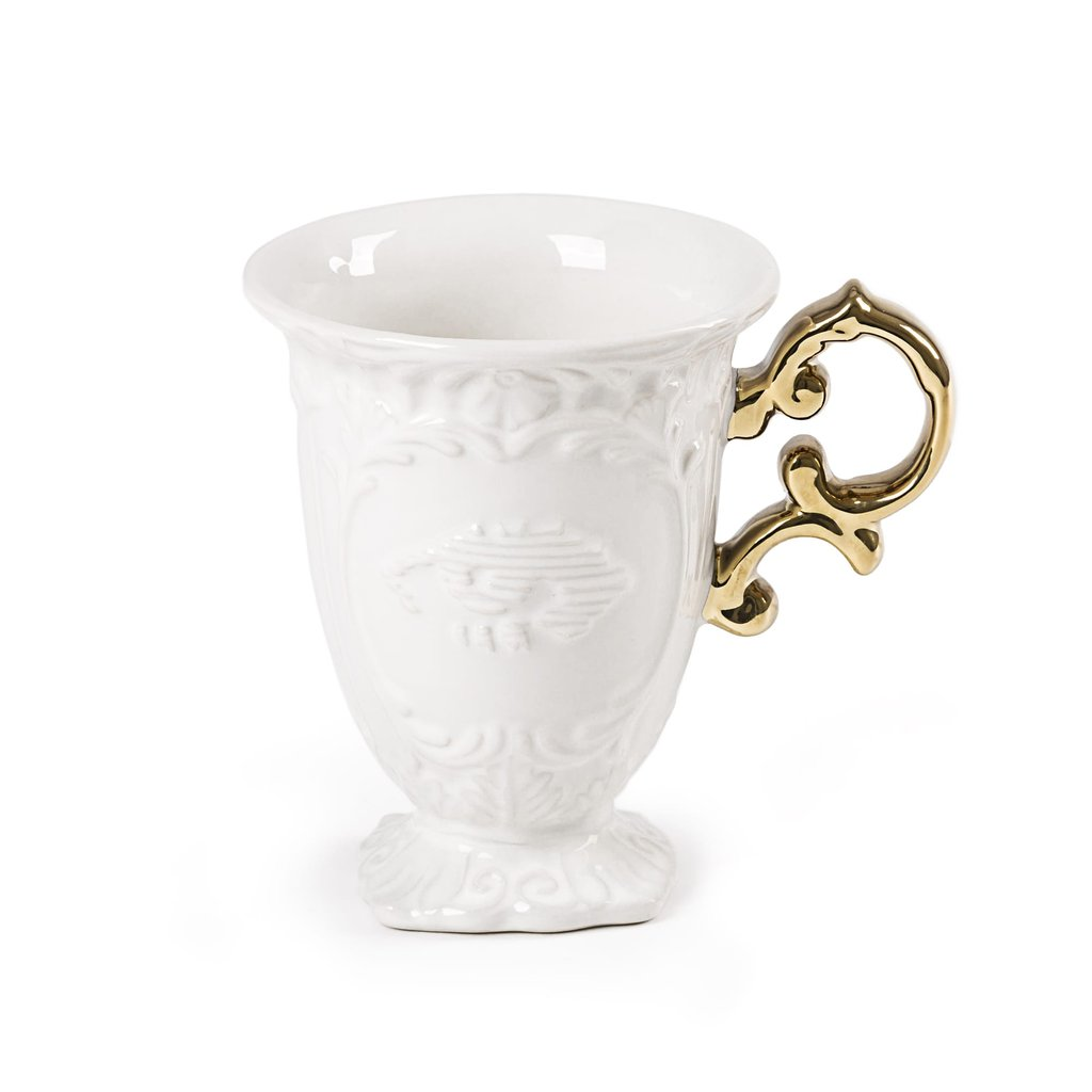 Seletti I-Ware Porcelain Mug with Gold Handle