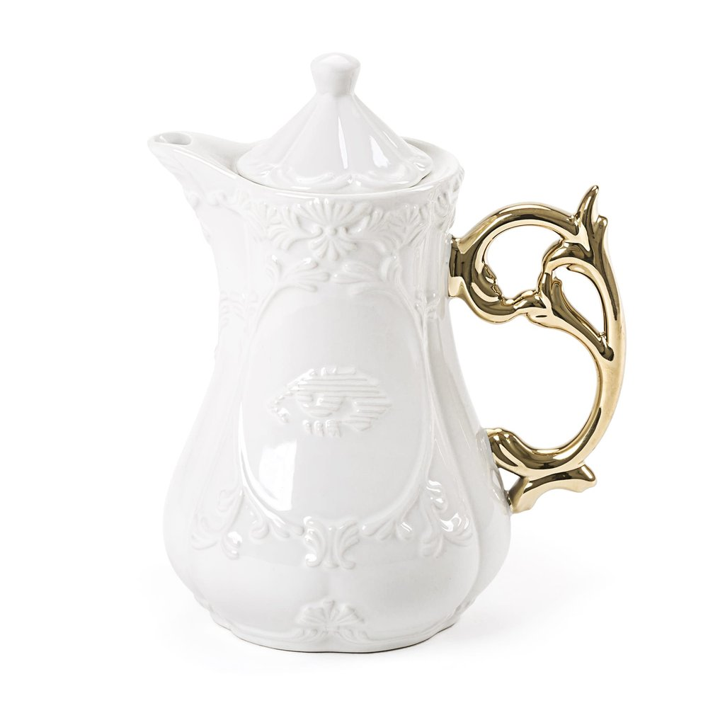 Seletti I-Ware Porcelain Teapot with Gold Handle