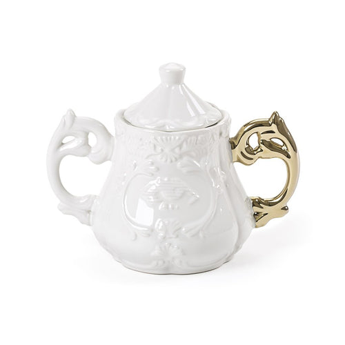 Seletti I-Ware Porcelain Sugar Bowl with Gold Handle