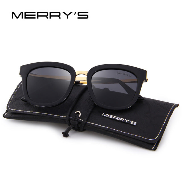 f98e1cc99a MERRY S Women Classic Cat Eye Polarized Sunglasses Fashion Sun Glasses  Metal Temple 100% UV Protection