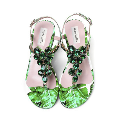 f11fa1525 Girl s Summer Gem Rhinestone T-Strap Clip Toe Sandals Floral Printed  Leather Low Heels Beauty Bling Crystal Sandals for Ladies