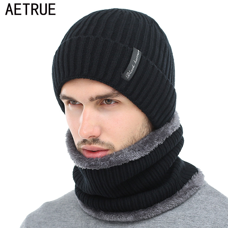 36c3b160a1e AETRUE Winter Beanies Men Scarf Knitted Hat Caps Mask Gorras Bonnet Warm  Baggy Winter Hats For ...