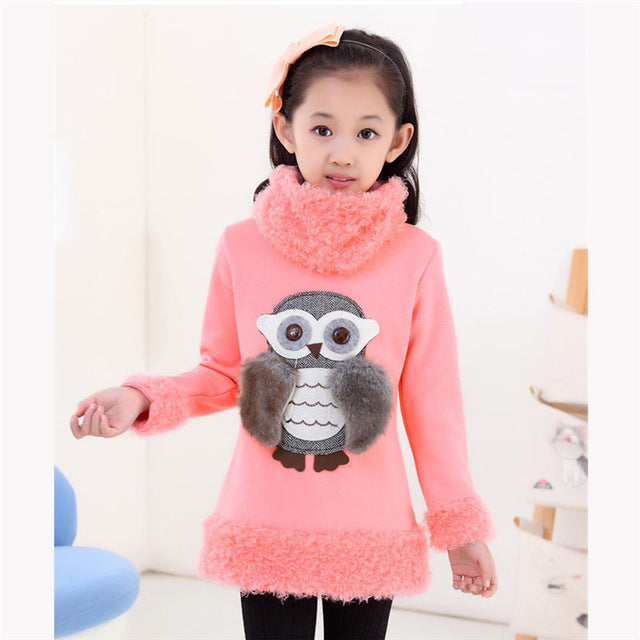 ABGMEDR Brand Fashion Owl Sweaters Winter Teenagers Girls Sweaters Monsoon  Kids Tops Children Clothing Girls Warm