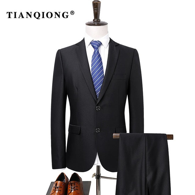TIAN QIONG(Jacket + Pants)Suit Men 2017 Slim Fit Black Groom ...