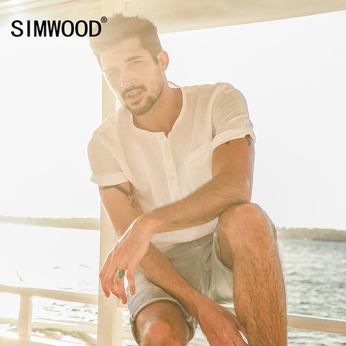 49b0315d0c9 SIMWOOD 2018 Summer Causal Shirts Men Shorts Sleeve 100% Pure Linen  Breathable Henry Collar Slim