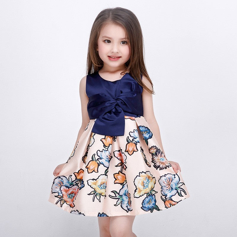 9de8a5c4f252 2018 New Style Baby Girls Summer Navy Blue Floral Dress For Kids ...