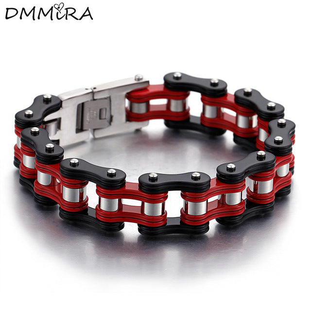 New Arrival Fashion Men Bike Chain Bracelet Red Black Stainless Steel Motorcycle Link Bicycle Bike Chain Bracelets Jewelry 230mm