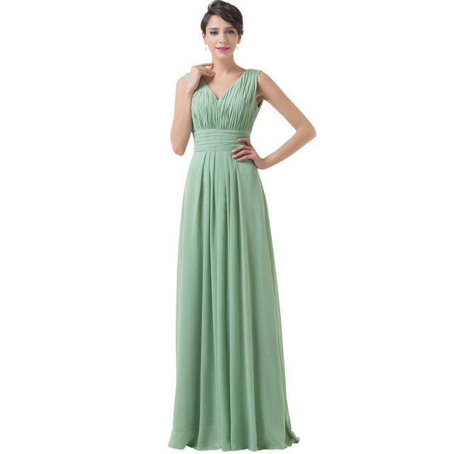 Grace Karin Dark Sea Green Chiffon Long Prom Dresses 2018 Ruched Formal Evening Gowns Lace Up Back Girl Prom Dress For Party