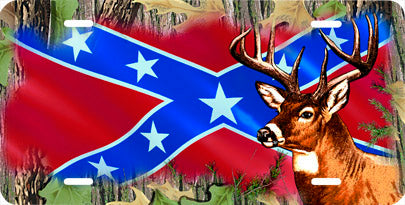 Deer on Rebel Flag Auto Tag