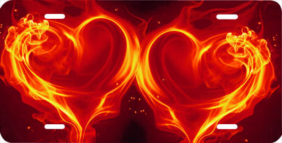 Red Flaming Hearts Auto Tag