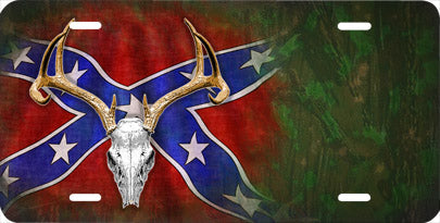 Deer Skull on Rebel Flag Auto Tag