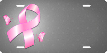 Breast Cancer Ribbon Front License Plate