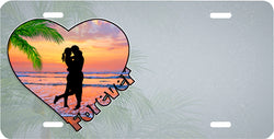 Silhouette Couple on Heart-Shaped Beach - Auto Tag