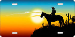 Horse and Rider Silhouette Auto Tag