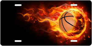 Basketball w/Flames - Auto Tag
