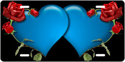 Blue Double Hearts w/Roses - Auto Tag