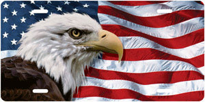 Eagle on American Flag Auto Tag