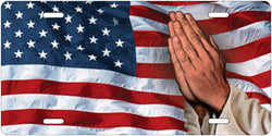 Praying Hands on American Flag