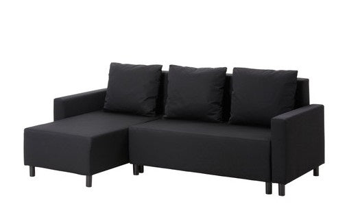 IKEA LUGNVIK Sofa bed with chaise longue Gran¥n black – Idiya