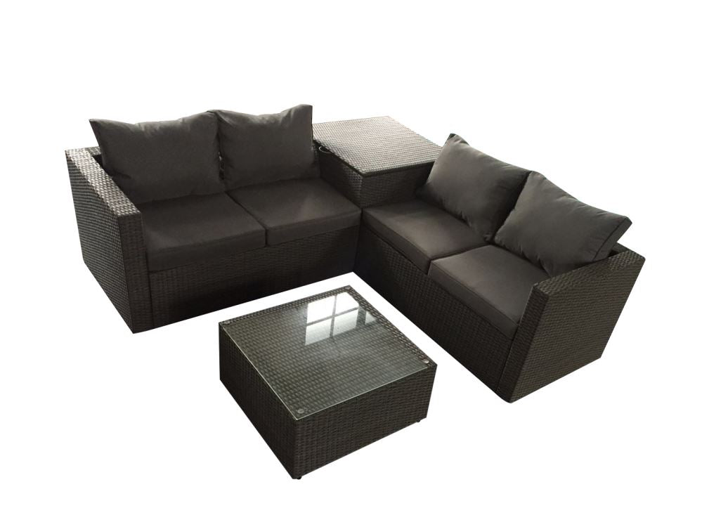 Denpasar Rattan Outdoor Garden Furniture Corner Sofa Set Grey. Denpasar_?