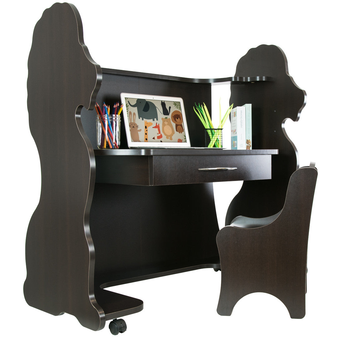 Surprising Mobile Height Adjustable Desk Lion Espresso Wenge With Chair Theyellowbook Wood Chair Design Ideas Theyellowbookinfo