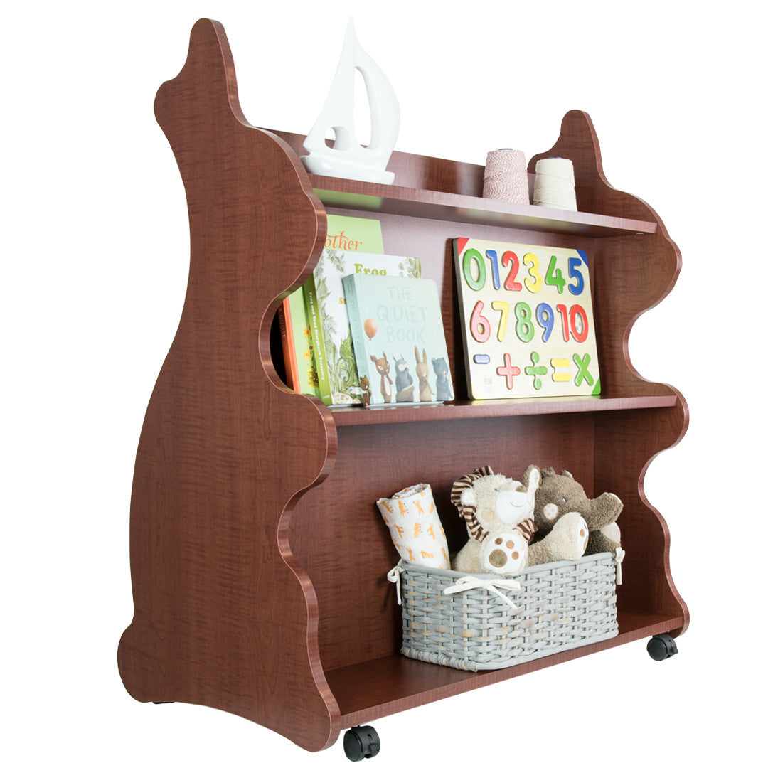 mobile double sided bookcase rabbit cherry