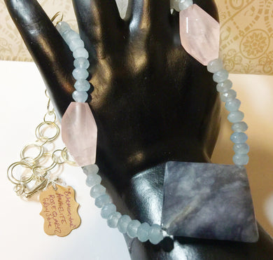 Bohemian In Me - Necklace Set - Rose Quartz - Angelite- Earrings - Bracelet - Necklace
