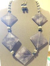 Load image into Gallery viewer, Goddess - Gray Stone - Silk Antique Beads - Crystals - Set - Necklace - Earrings