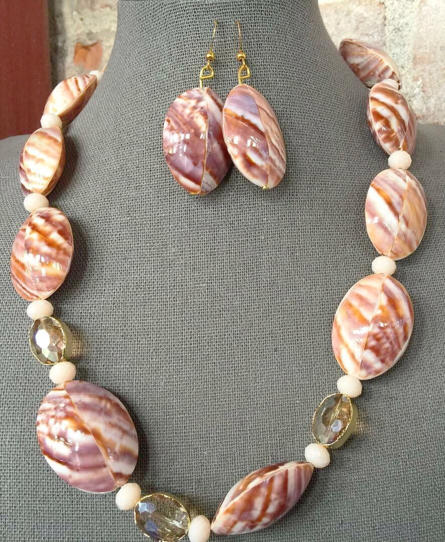seashells - crystal- necklace- Earrings- set