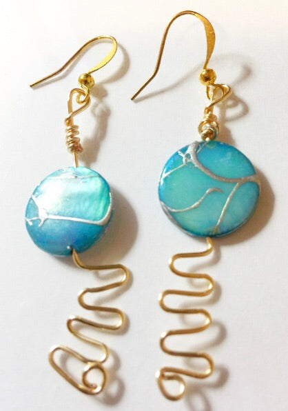 Earrings- mother of Pearl- 24k gold Field